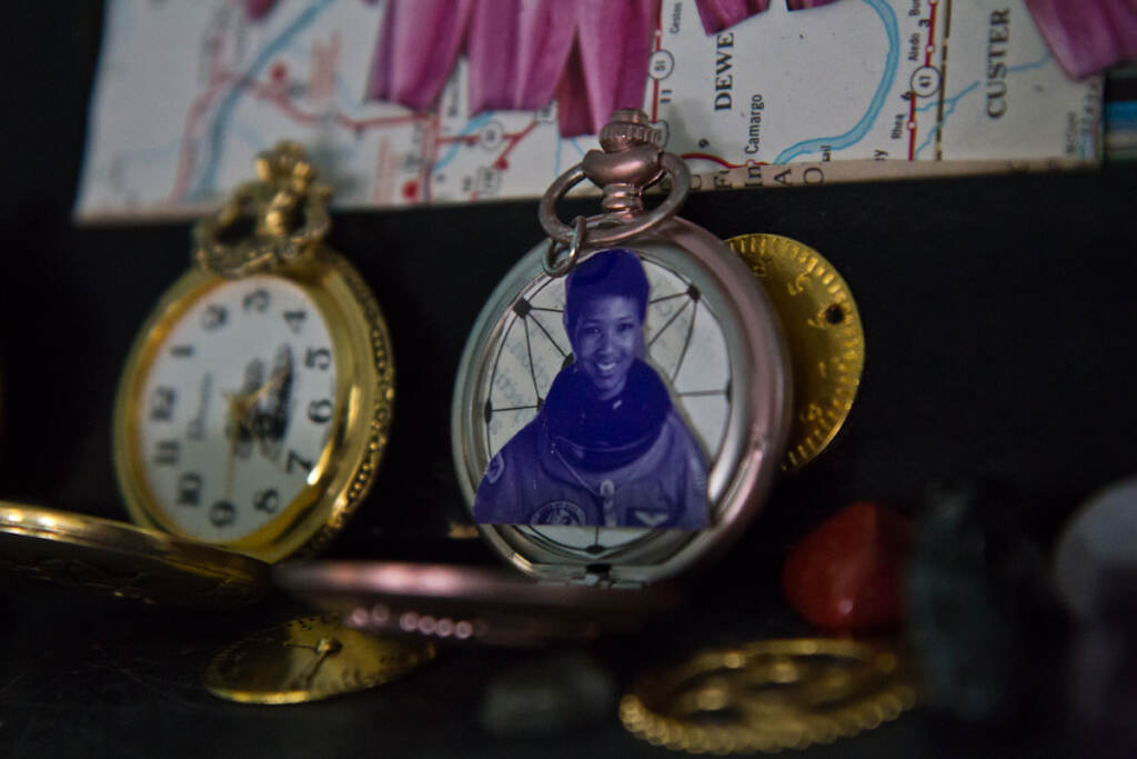 A temporal disruptor featuring Mae Jemison, the first Black, female astronaut.