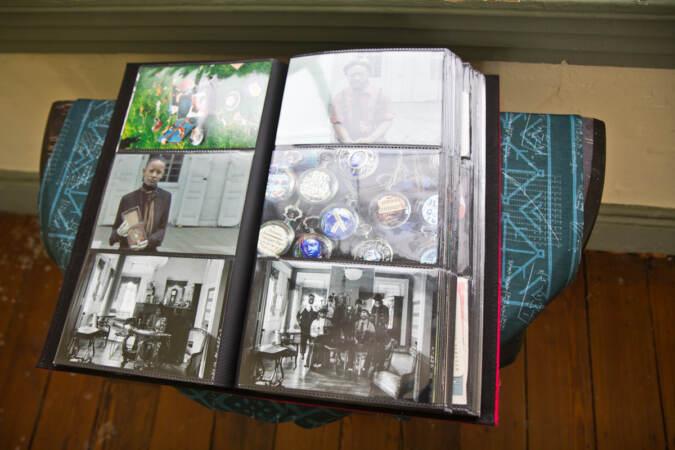 "A Black Quantum Futurism photo album, called ""the familiar"" on display at the Hatfield House"