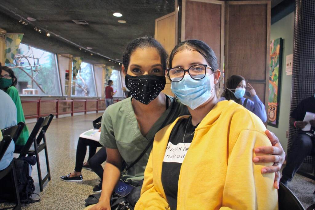 Germaine Nagovich brought her daughter Alani Rivera to the Philadelphia Zoo to get her first shot of the Pfizer COVID-19 vaccine