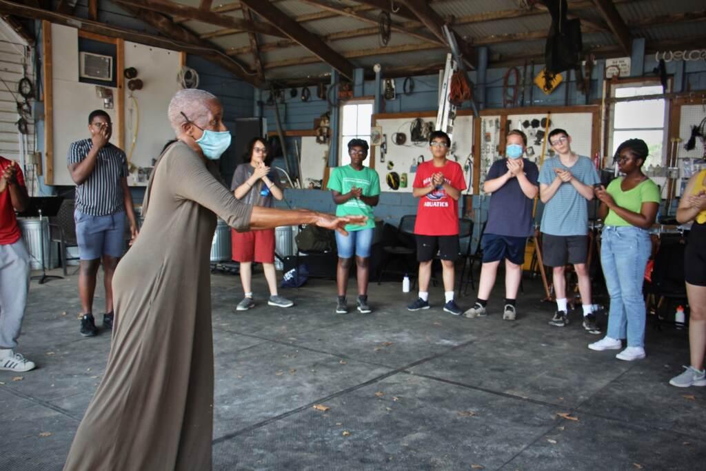 Rhonda Moor teaches dance to high school students