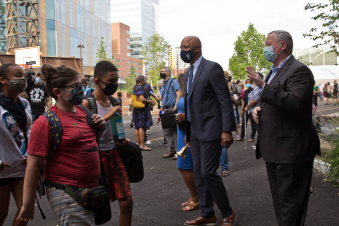 Philadelphia Mayor Jim Kenney and Superintendent WIlliam Hite greeted students on their first day of school on Aug. 31, 2021. (Kimberly Paynter/WHYY)