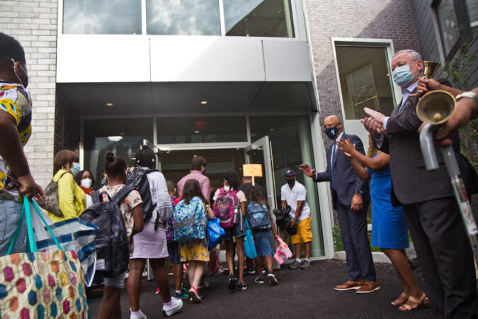 Mayor Jim Kenney and Superintendent WIlliam Hite greet students on their first day of school