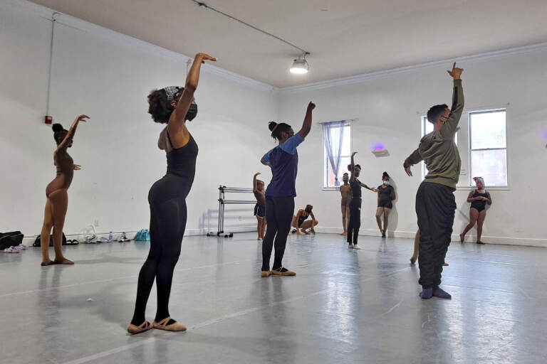 Roderick Phifer, rehearsal director for the Chocolate Ballerina Company, leads a group of young dancers through an audition for a winter production of the