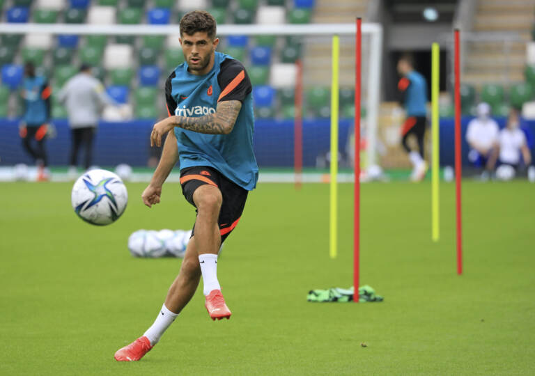 Chelsea's Christian Pulisic kicks the ball during a training session at Windsor Park in Belfast, Northern Ireland, Tuesday, Aug. 10, 2021. Chelsea and Villarreal will meet in the UEFA Super Cup in Belfast