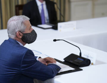 Dr. Anthony Fauci, director of the National Institute of Allergy and Infectious Diseases, listens as President Joe Biden receives a briefing in the State Dining Room of the White House in Washington, Tuesday, Aug. 10, 2021, on how the COVID-19 pandemic is impacting hurricane preparedness. (AP Photo/Susan Walsh)