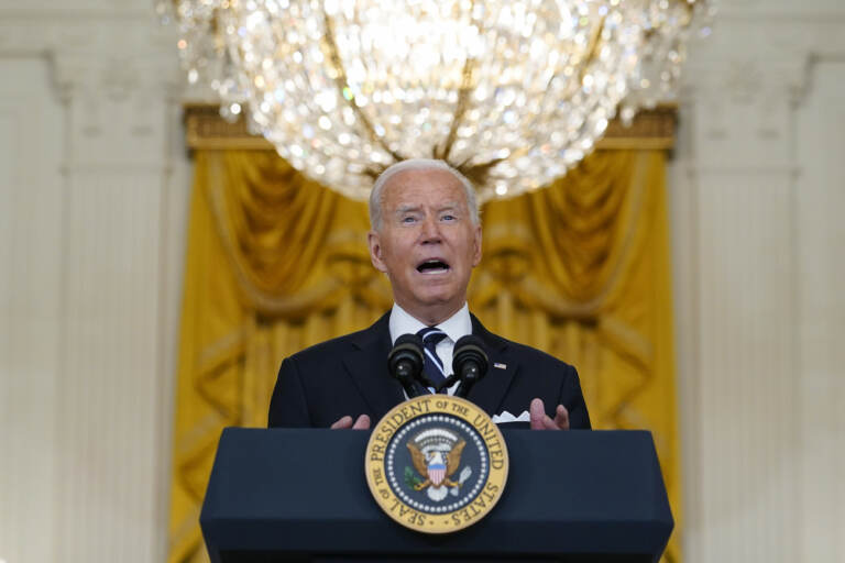 President Joe Biden speaks from the East Room of the White House in Washington, Wednesday, Aug 18, 2021, on the COVID-19 response and vaccination program. U.S. health officials Wednesday announced plans to offer COVID-19 booster shots to all Americans to shore up their protection amid the surging delta variant and signs that the vaccines' effectiveness is falling. (AP Photo/Susan Walsh)
