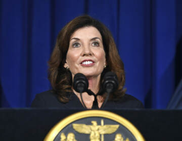 Then-New York Lt. Governor Kathy Hochul addresses the People of New York during news conference in the Blue Room at the state Capitol Wednesday, Aug. 11, 2021, in Albany, N.Y.