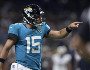 Jacksonville Jaguars quarterback Gardner Minshew reacts in the second half of an NFL preseason football game against the New Orleans Saints in New Orleans, Monday, Aug. 23, 2021