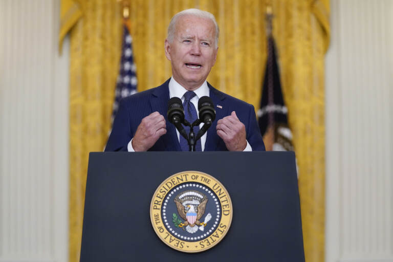 President Joe Biden speaks about the bombings at the Kabul airport that killed at least 12 U.S. service members, from the East Room of the White House, Thursday, Aug. 26, 2021, in Washington. (AP Photo/Evan Vucci)