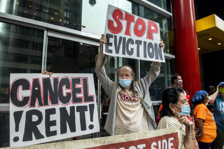 Housing advocates protest on the eviction moratorium in New Yor