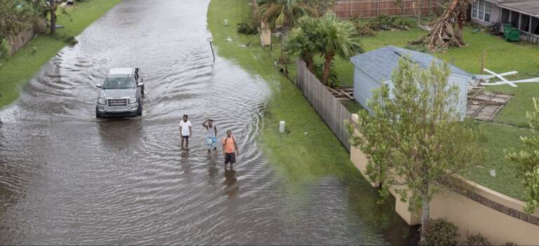 Flooded streets are shown in the Spring Meadow subdivision in LaPlace, La., after Hurricane Ida moved through Monday, Aug. 30, 2021. Hard-hit LaPlace is squeezed between the Mississippi River and Lake Pontchartrain. (Steve Helber / AP Photo)