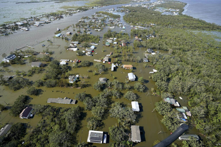 Homes are flooded in the aftermath of Hurricane Ida