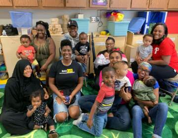 Jabina Coleman (center) surrounded by members of the Breastfeeding Awareness and Empowerment Cafe (BAE Cafe) , a group for Black birthing mothers in PA to connect and support each other through their birthing journeys. (Photo courtesy of Jabina Coleman)