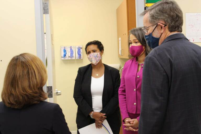 Centers for Medicare & Medicaid Services administrator Chiquita Brooks-LaSure (left) recently visited Westside Family Healthcare in Wilmington with Congresswoman Lisa Blunt Rochester (in purple) to announce new funding for navigators to help connect patients to insurance under the ACA