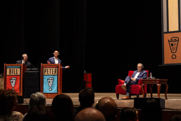 """Philadelphia District Attorney Larry Krasner was the local guest who played """"Not My Job"""" at the live taping of Wait, Wait, Don't Tell Me! at the Mann Center on August 5, 2021. The show was the first audience-attended taping since the COVID-19 pandemic shutdowns. (Kimberly Paynter/WHYY)"""