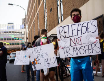 Members of immigrant advocate organizations rallied outside the ICE detention center in Philadelphia, demanding the release of detainees on August 12, 2021. (Kimberly Paynter/WHYY)