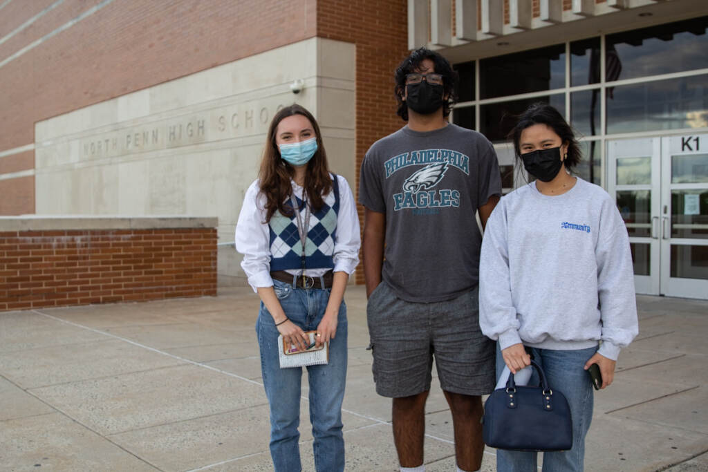 Rising seniors (from left) Nadia Sharifi, Dhruv Thota, and Angelina Soedjartanto attended a North Penn School District board meeting in support of mask mandates in the classroom