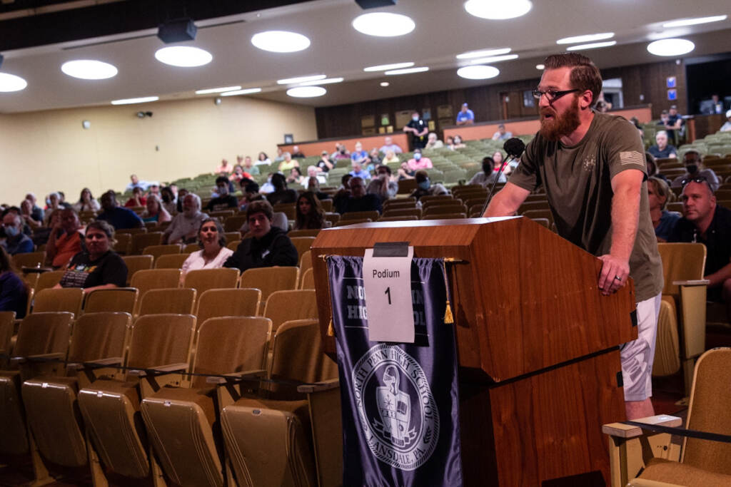 Many at the North Penn School District board meeting accused the board of choosing fear over freedom in considering a mask mandate for students in the upcoming school year