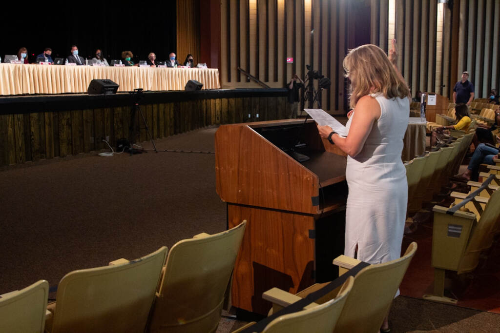 Parent Anne Montgomery testified to the board of the North Penn School District in support of classroom mask mandates