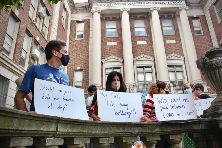 Masterman teachers protest outside school.