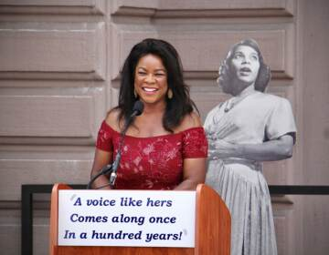 World-renowned mezzo-soprano Denyce Graves speaks at a ceremony to announce that a statue of Marian Anderson will be erected in front of the Academy of Music on South Broad Street. (Emma Lee/WHYY)