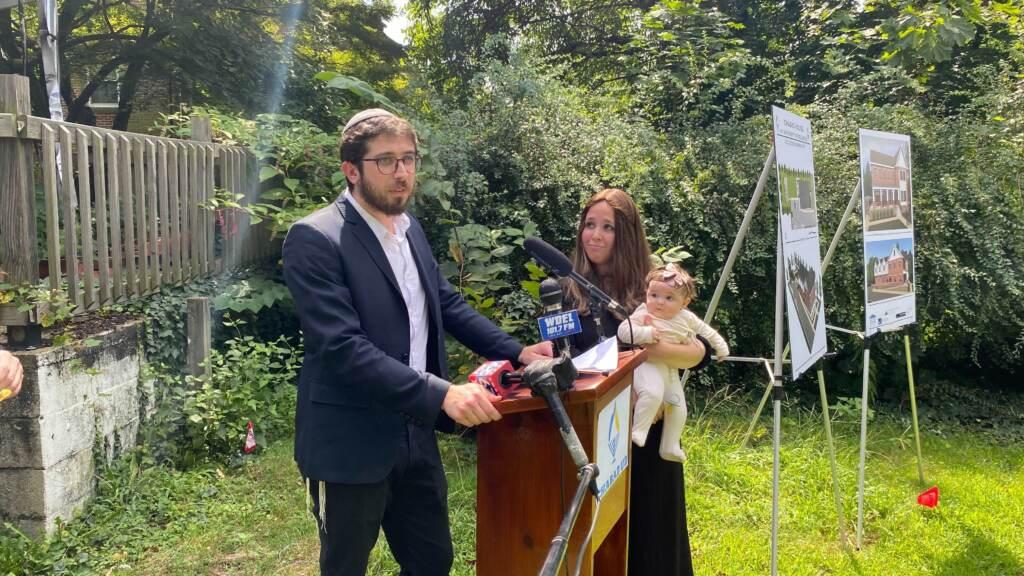 Rabbi Avremel Vogel addresses media.