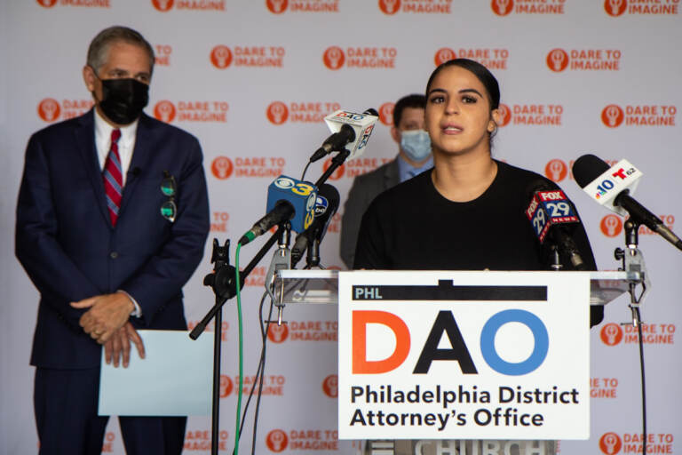 Joan Ortiz speaks at a DAO press conference.