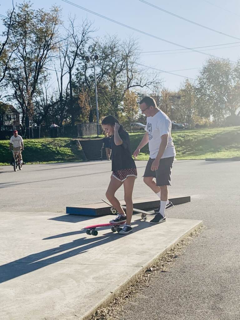 Joseph _Joey_ Peleckis, Delco Skatepark Coalition board member, with daughter Reese at McReesh Skatepark October 2020 shot. Courtesy - Johanna Peleckis
