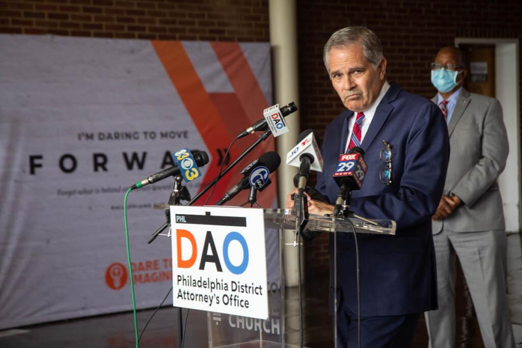 DA Larry Krasner speaks at a press conference