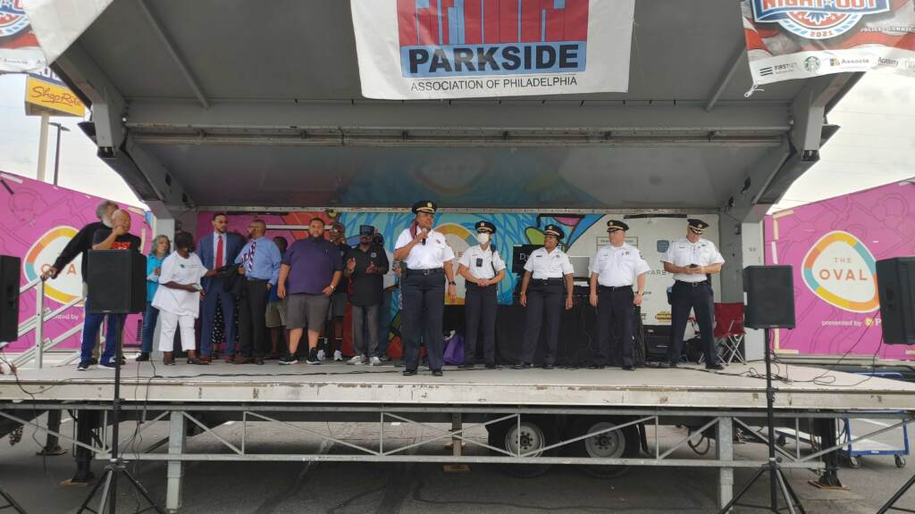 Sheriff Rochelle Bilal speaks at a National Night Out event