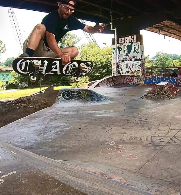 Nick Ludwig, Delco Skatepark Coalition board member, doing a boneless at Grays Ferry Skatepark in Philadelphia