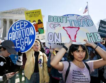 In this March 4, 2020, file photo, abortion rights demonstrators rally outside the Supreme Court in Washington. Among abortion-rights activists, (AP Photo/Jacquelyn Martin, File)
