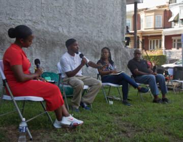 L to R: Moderator Layla A. Jones and panelists Siddiq Moore, Soneyet Muhammad, and Michael Thorpe. (Kimberly Paynter / WHYY)