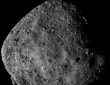 This image of Bennu, taken from a range of 15 miles, shows its unexpectedly rough and rocky surface. (NASA/Goddard/University of Arizona)