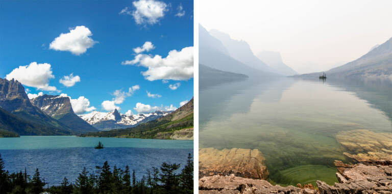In July wildfire smoke hung over St. Mary Lake in Glacier National Park in Montana (right). The haze muted the bright views amateur photographer Heather Duchow remembered from and anniversary trip 15 years ago (left). (Heather Duchow)