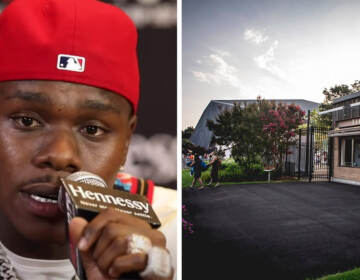 Rapper DaBaby in 2019; The Mann Center in Fairmount Park