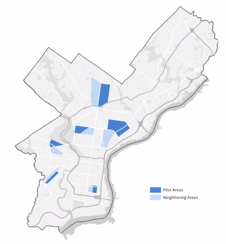 Expanded street cleaning areas are illustrated on a map of Philadelphia.