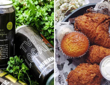 Beer from Two Locals and fried chicken from Love and Honey