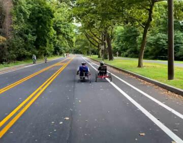 People on recumbent bikes use MLK Drive