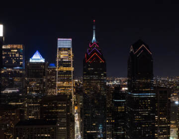 Lights are seen on the One Liberty building in Philly