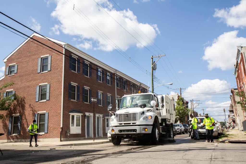 Philadelphia's Streets Department demonstrate their mechanical street and sidewalk sweepers