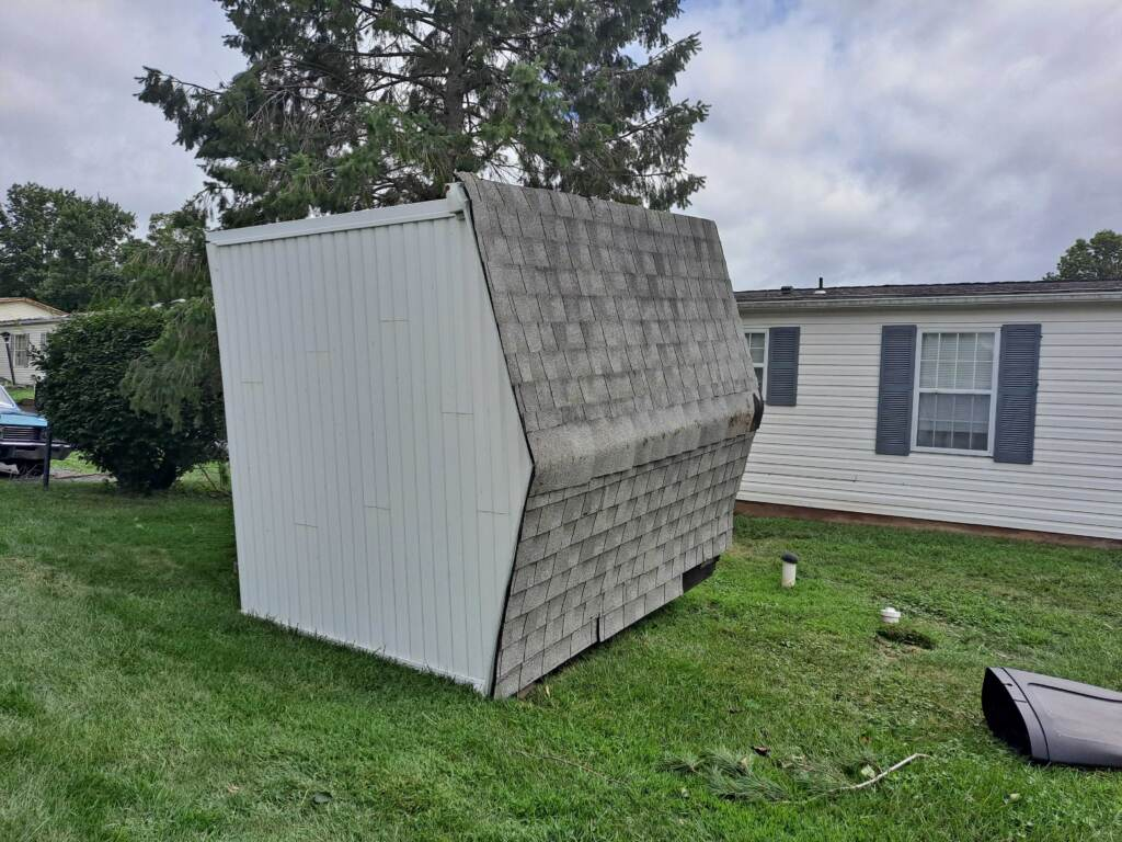 A shed sits on its side in Souderton
