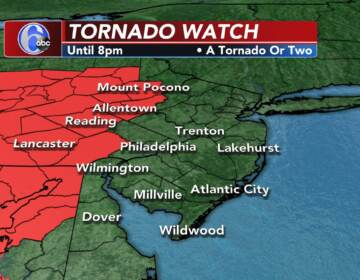 A weather map shows a Tornado Watch in effect for some Pa. counties
