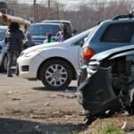 Car debris on sidewalk in Philly
