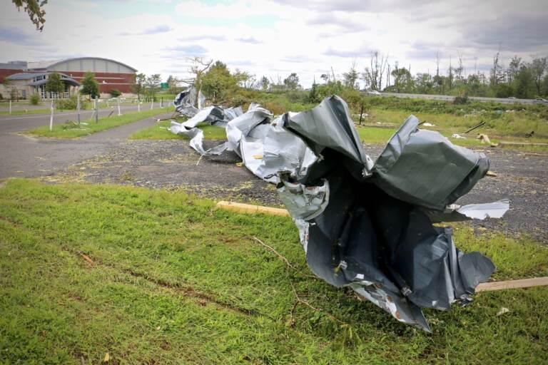 Wreckage at school after Hurricane Ida