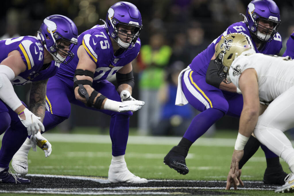O'Neill (number 75) has been a stalwart of the Vikings' offensive line since his rookie season in 2018. (Minnesota Vikings)