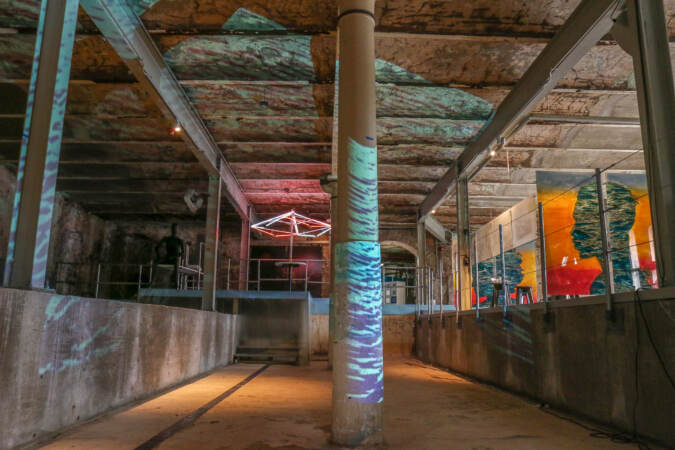 A multimedia exhibit at a former indoor pool at Fairmount Water Works