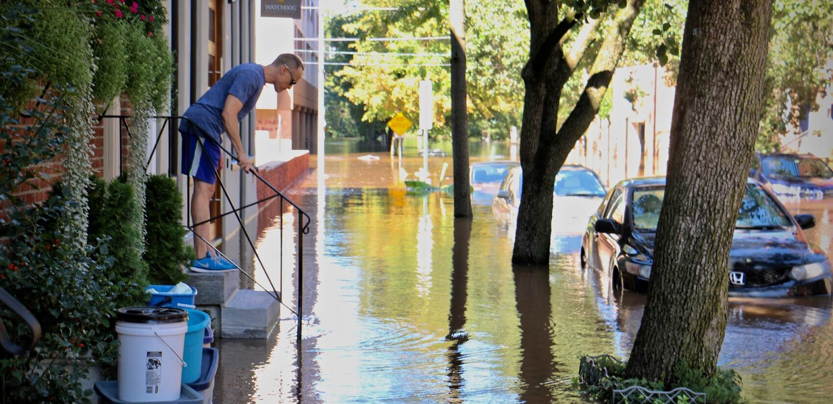 Person observes intense flooding in Philadelphia