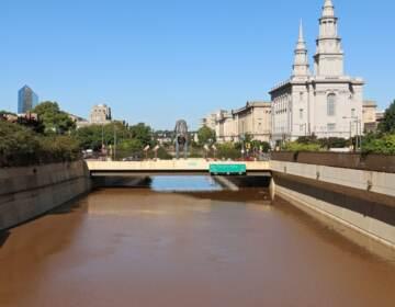 Vine Street Expressway is flooded.