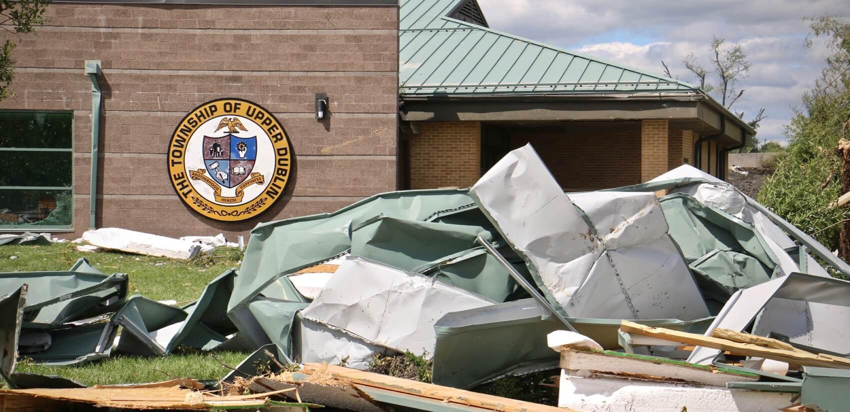 Wreckage in front of Upper Dublin High School after tornado.